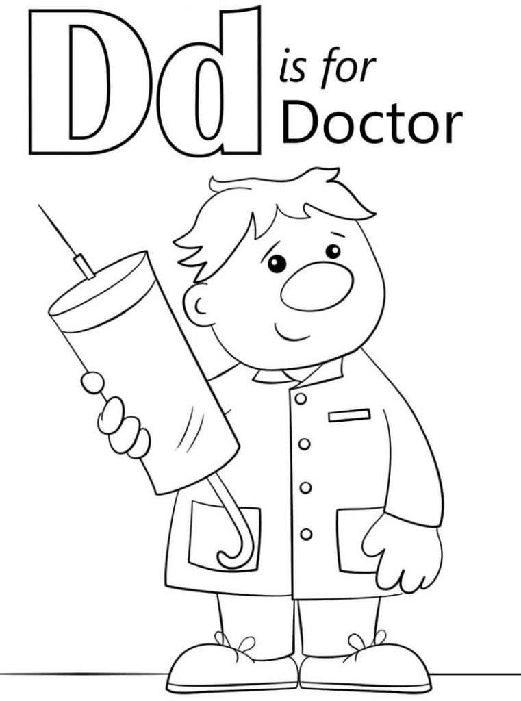 D for doctor coloring page