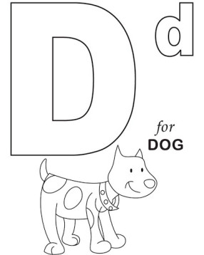 D for Dog coloring page