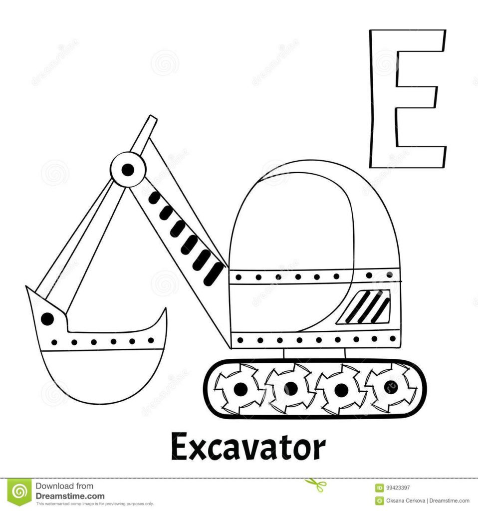 E for excavator coloring page