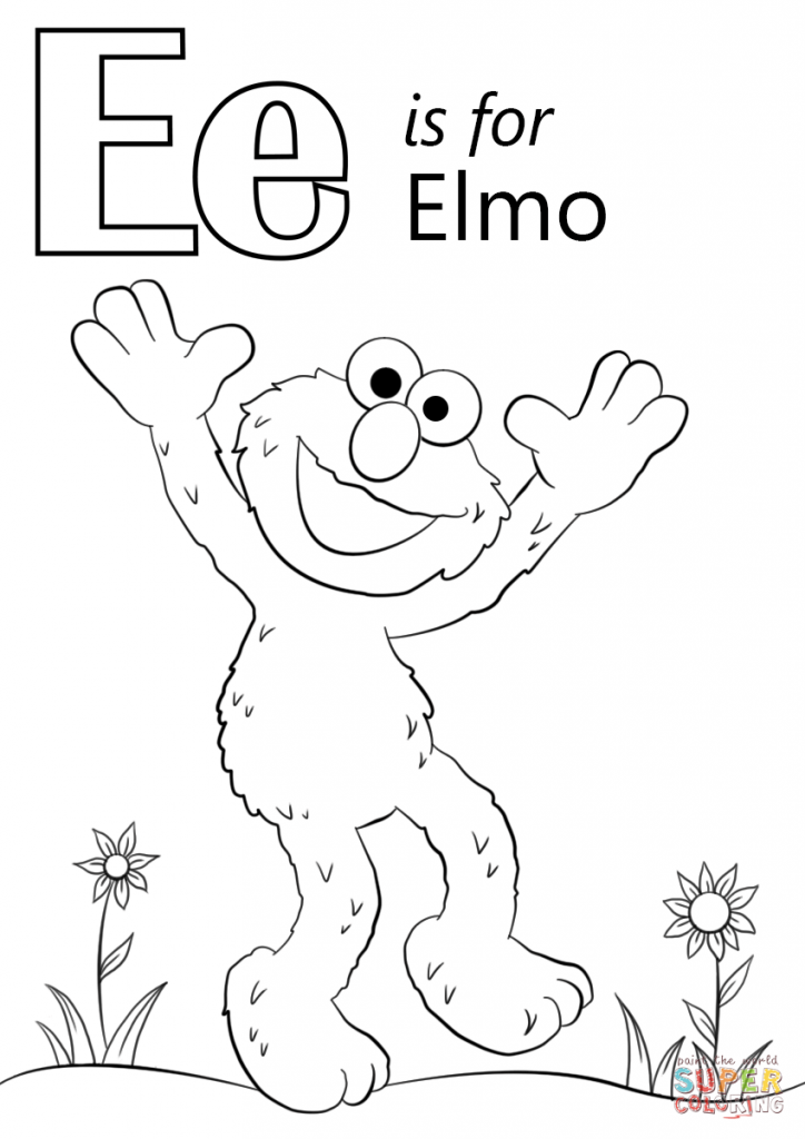 E is for Elmo coloring pages