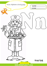 N is for nurse coloring page