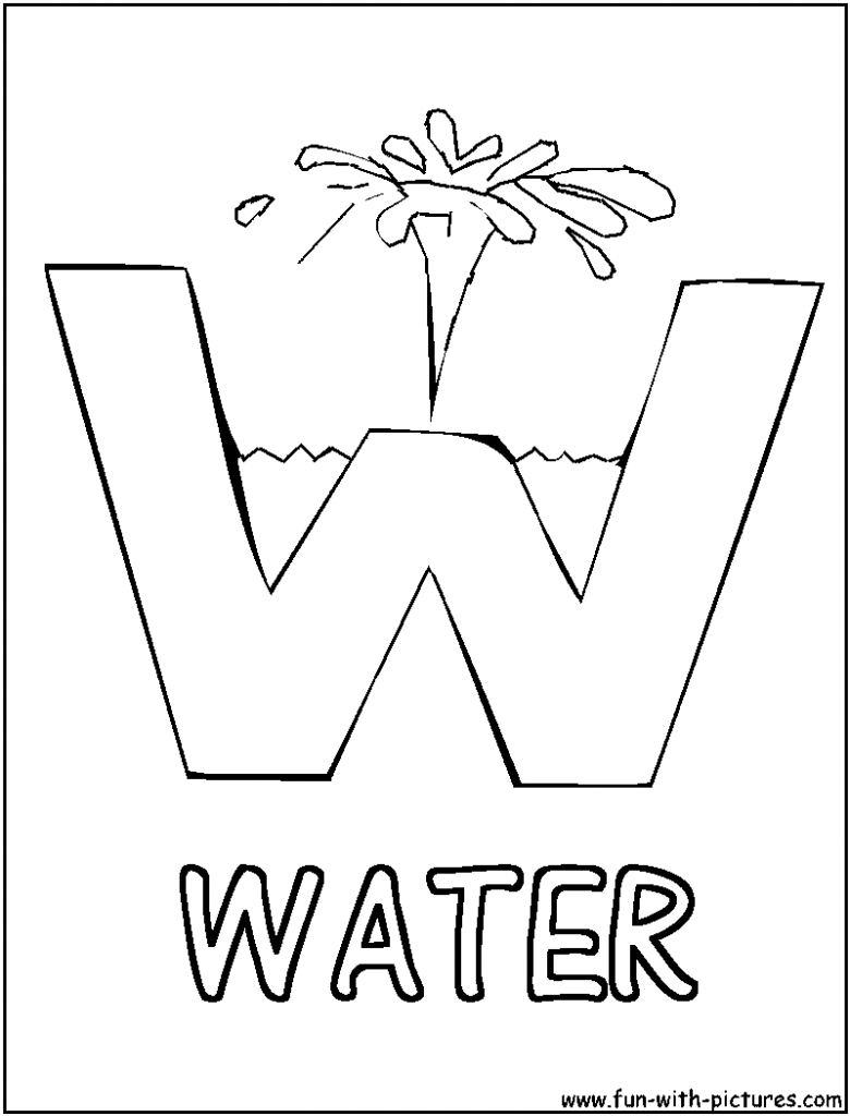 W for water coloring page